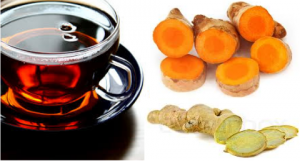 o chá de gengibre e açafrão é um antiinflamatório poderoso que alivia a dor de joelho